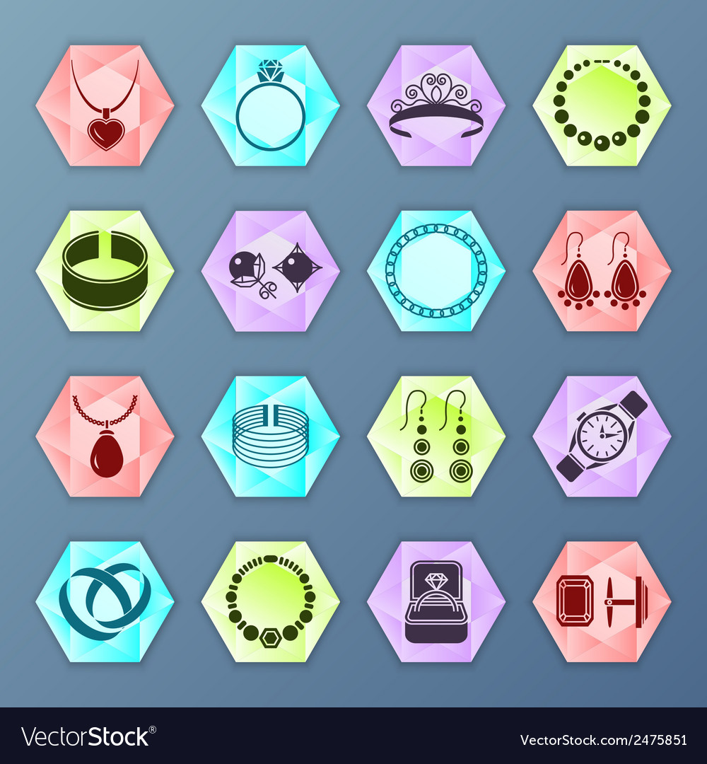 Jewelry icon hexagon vector | Price: 1 Credit (USD $1)