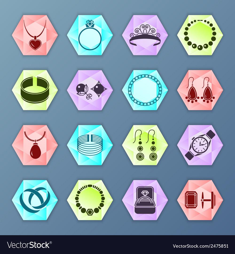 Jewelry icon hexagon vector | Price: 1 Credit (USD $1)