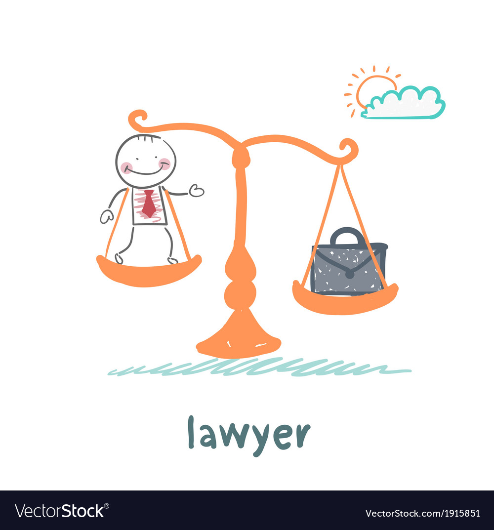 Lawyer is on the scales with a suitcase vector | Price: 1 Credit (USD $1)