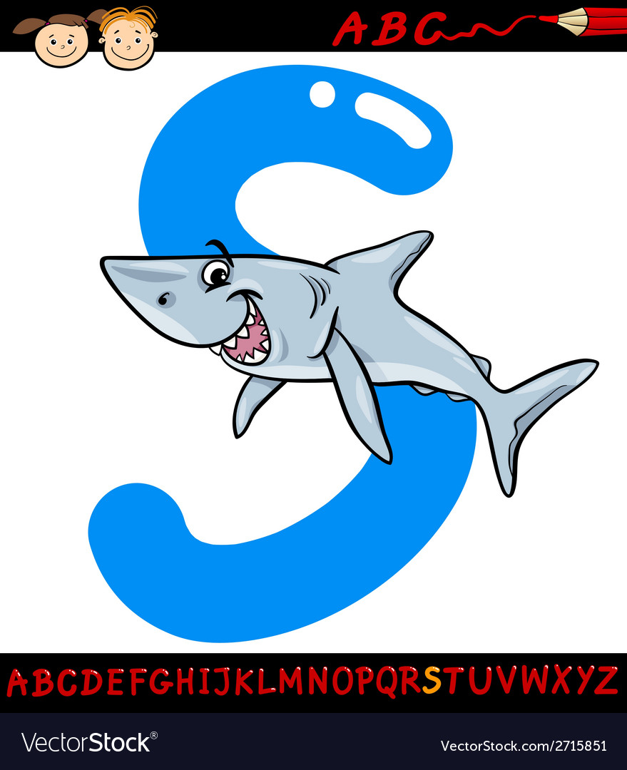 Letter s for shark cartoon vector | Price: 1 Credit (USD $1)