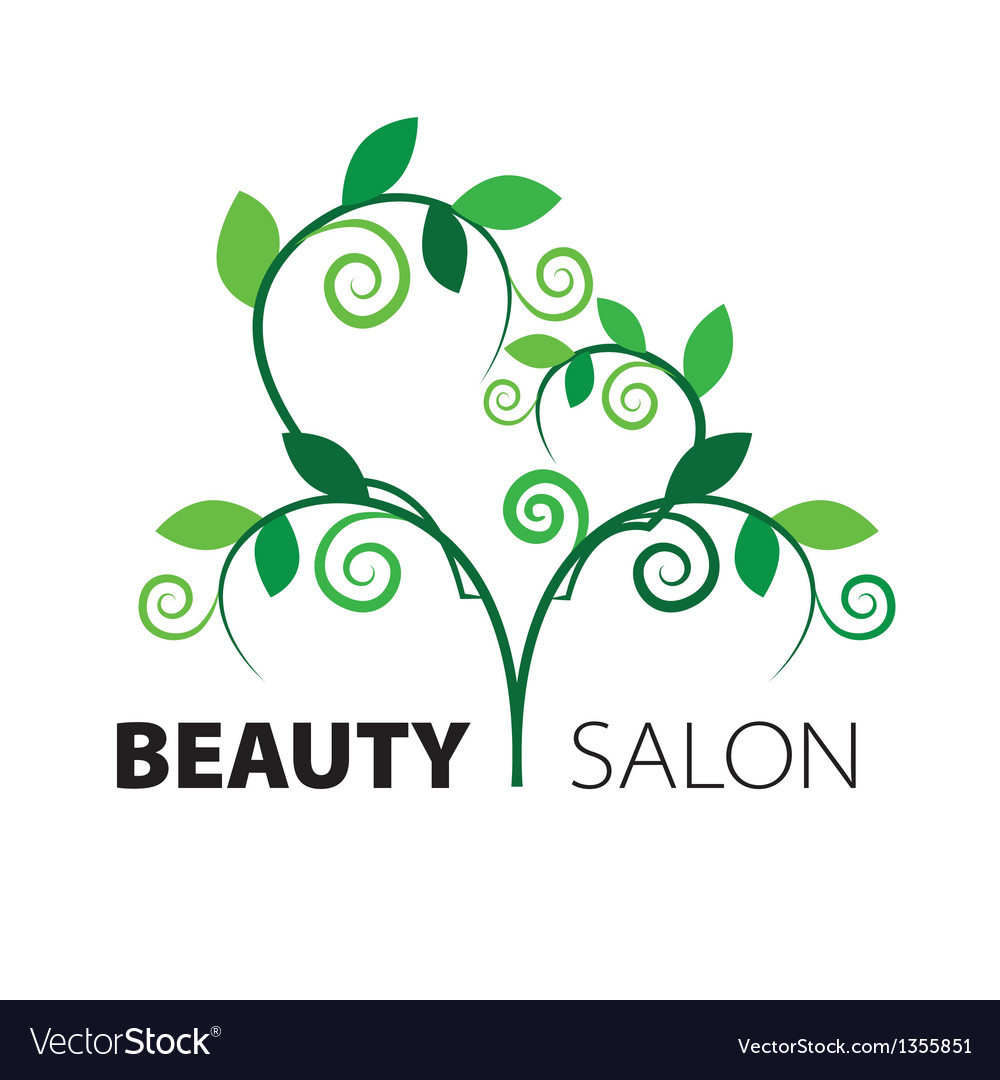 Logo tree heart of green leaves in the beauty salo vector | Price: 1 Credit (USD $1)