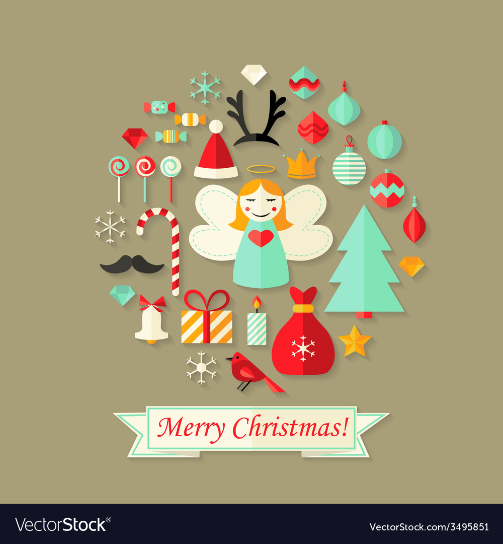 Merry christmas card with flat icons set vector | Price: 1 Credit (USD $1)