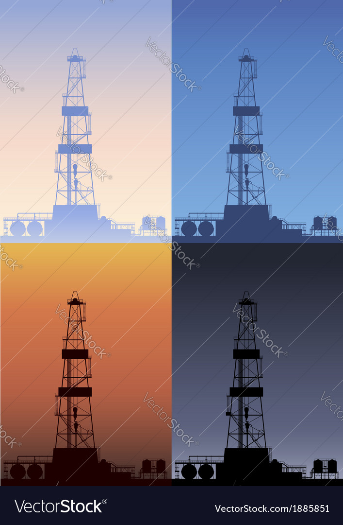 Oil rig at different times of the day detailed vector | Price: 1 Credit (USD $1)
