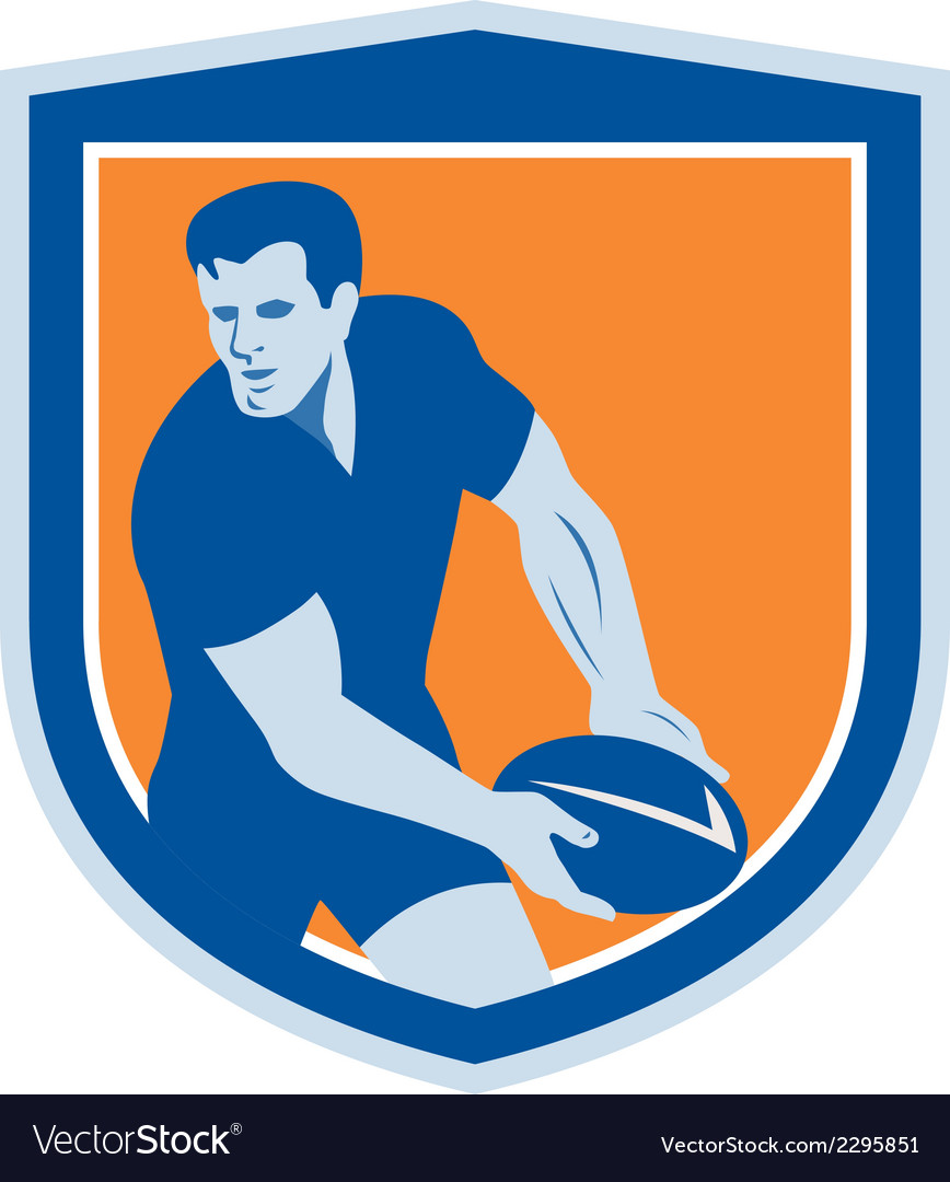 Rugby player passing ball shield retro vector | Price: 1 Credit (USD $1)