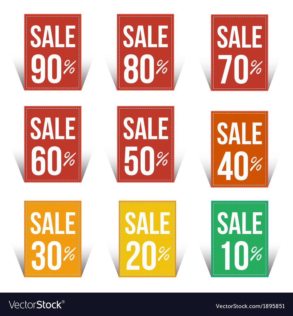 Sale percent sticker price tag flat design vector | Price: 1 Credit (USD $1)