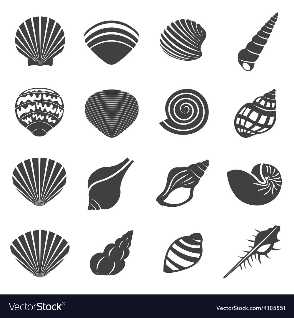 Sea shell flat mono icons set vector | Price: 1 Credit (USD $1)