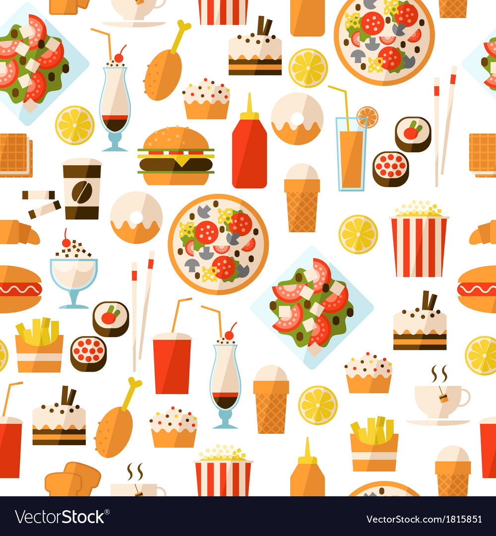 Seamless pattern with fast food and drink vector | Price: 1 Credit (USD $1)