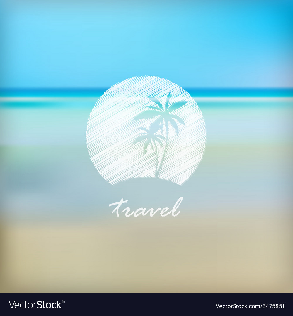 Summer holidays label in beach blurred background vector | Price: 1 Credit (USD $1)