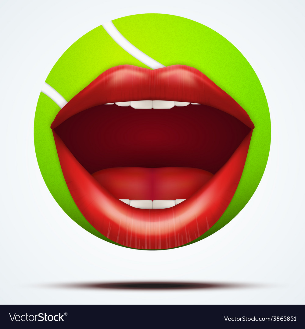 Tennis ball with a talking female mouth vector | Price: 3 Credit (USD $3)
