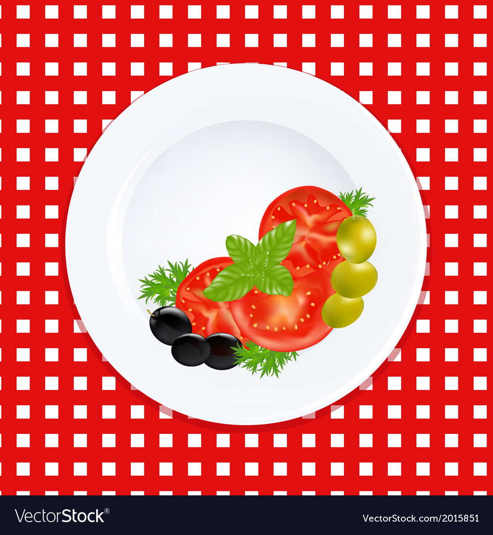 White plate with tomatoes olives and fresh herbs vector | Price: 1 Credit (USD $1)