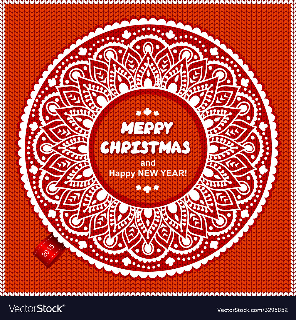 Beautiful christmas lace ornament with a knitted vector | Price: 1 Credit (USD $1)