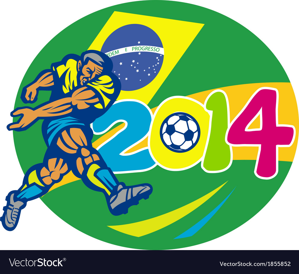 Brazil 2014 soccer football player retro vector | Price: 1 Credit (USD $1)