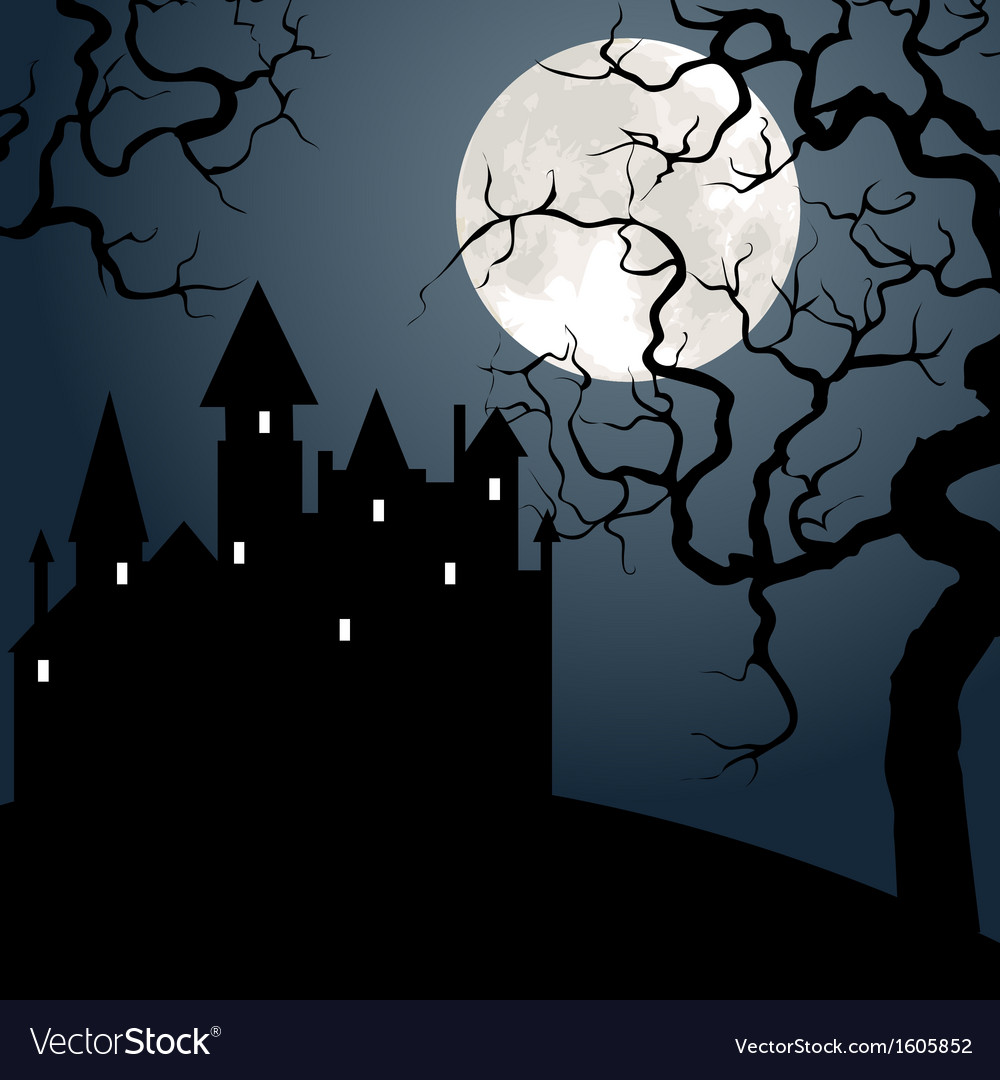 Castle and tree at night vector | Price: 1 Credit (USD $1)