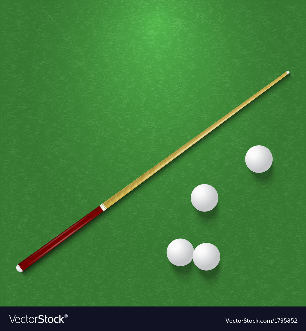 Cue and balls on the pool table vector | Price: 1 Credit (USD $1)