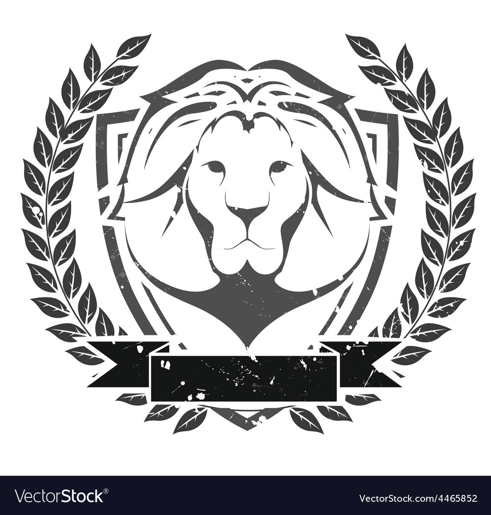 Grunge lion head emblem vector | Price: 1 Credit (USD $1)