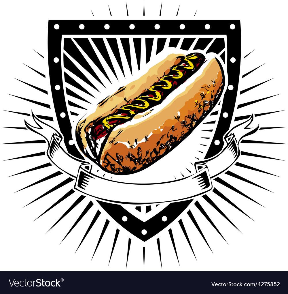 Hot dog shield vector | Price: 1 Credit (USD $1)