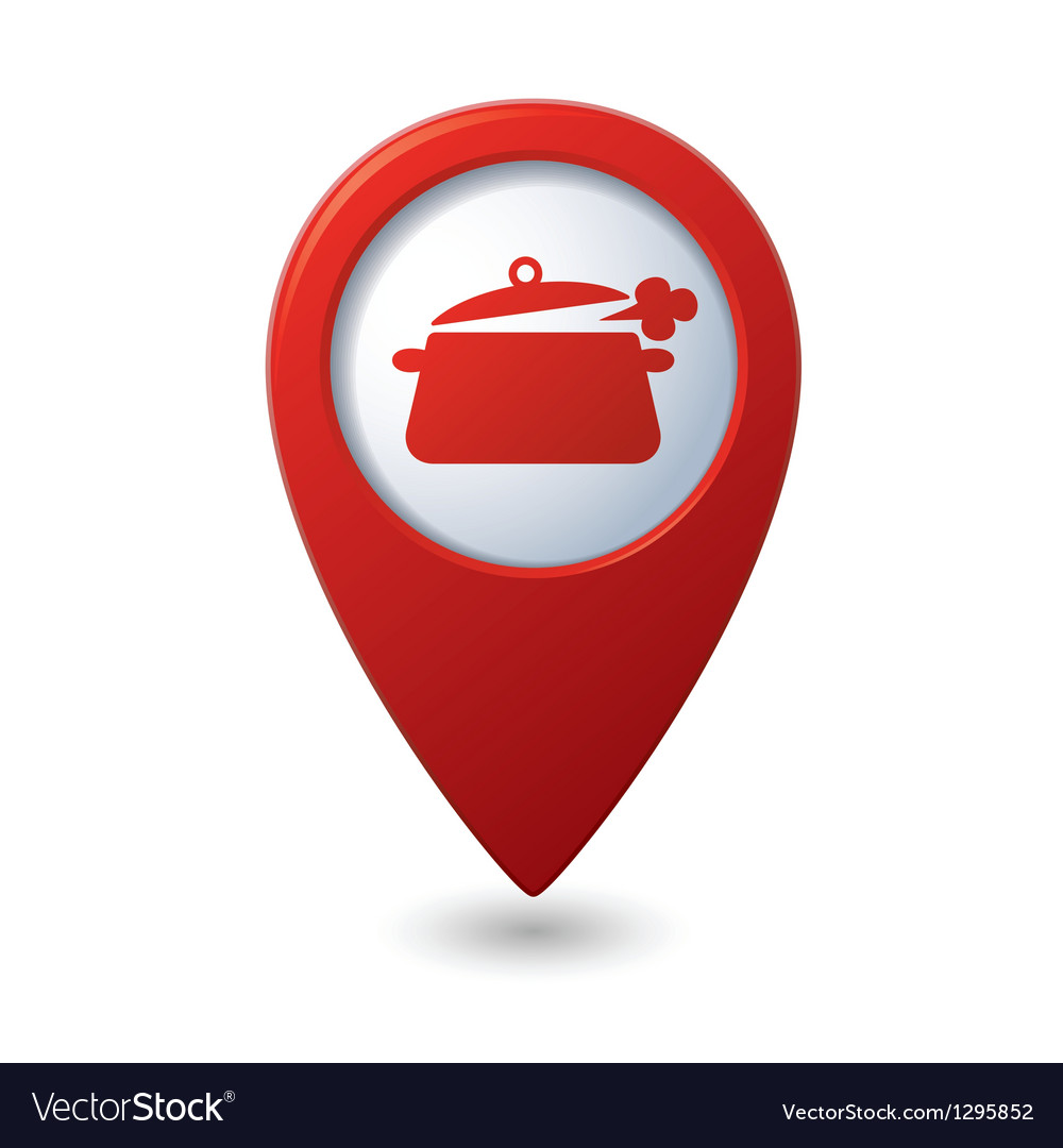 Map pointer with dining room icon vector | Price: 1 Credit (USD $1)