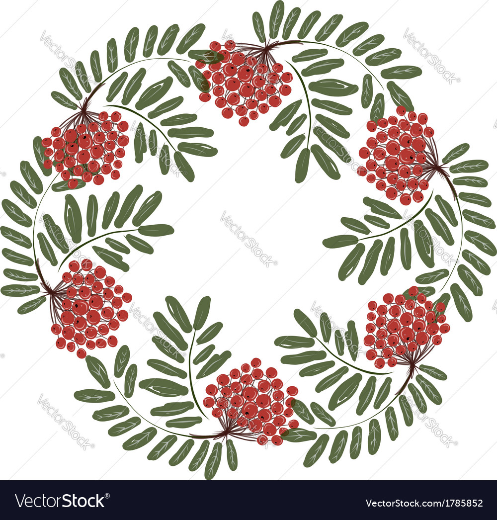 Rowan branch with berries frame for your design vector | Price: 1 Credit (USD $1)