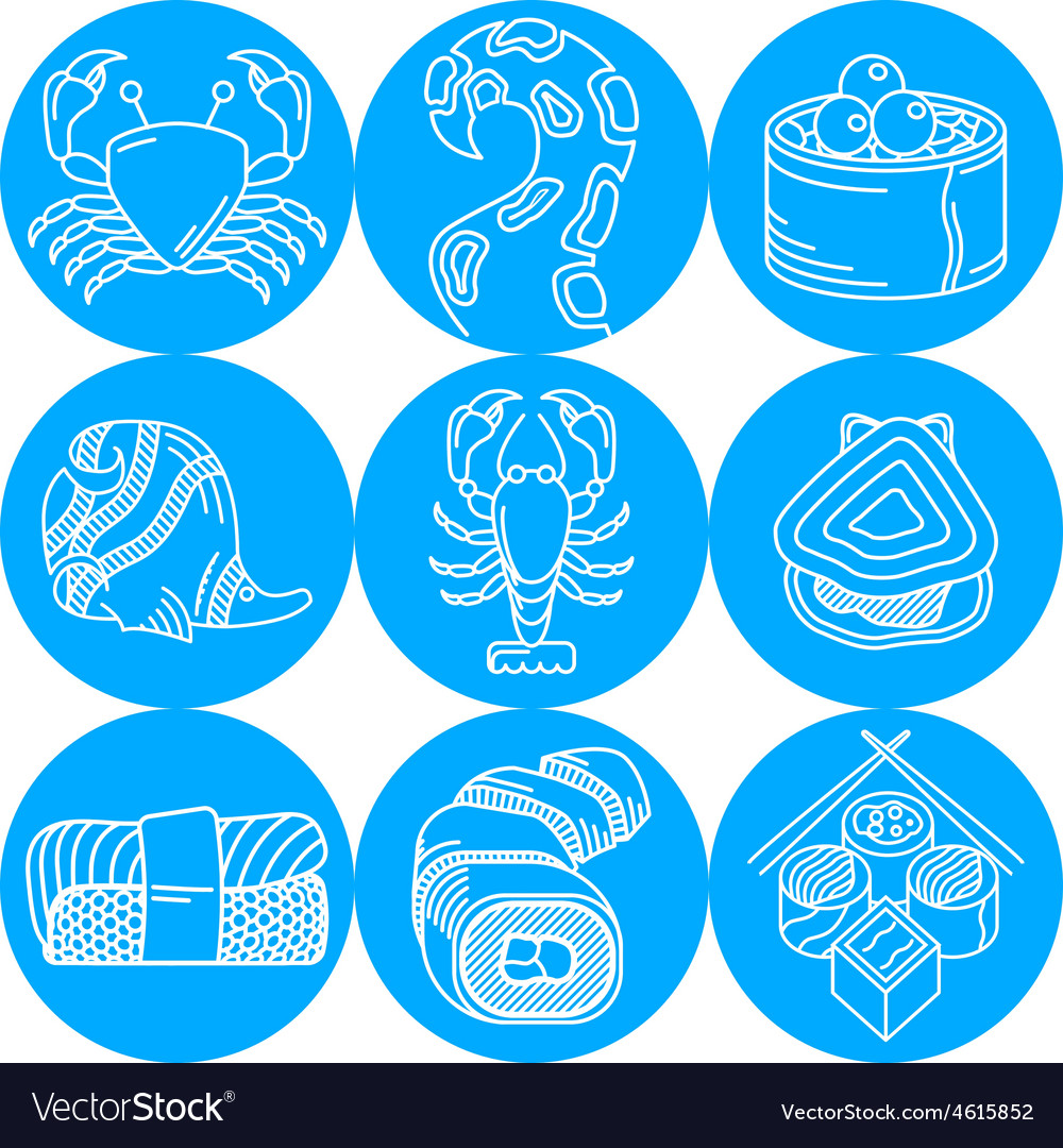 Seafood round blue icons vector | Price: 1 Credit (USD $1)