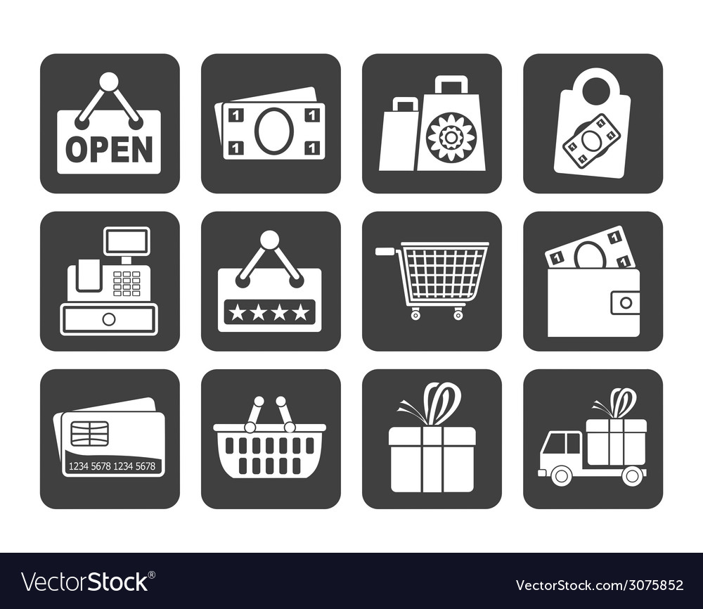 Silhouette shopping and retail icons vector | Price: 1 Credit (USD $1)