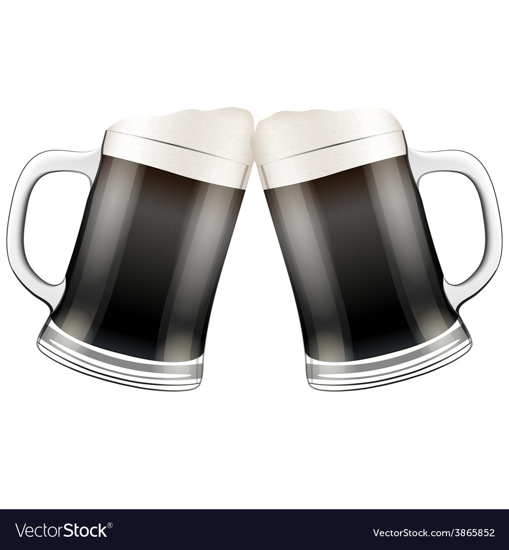 Two dark beer mugs clink vector | Price: 3 Credit (USD $3)