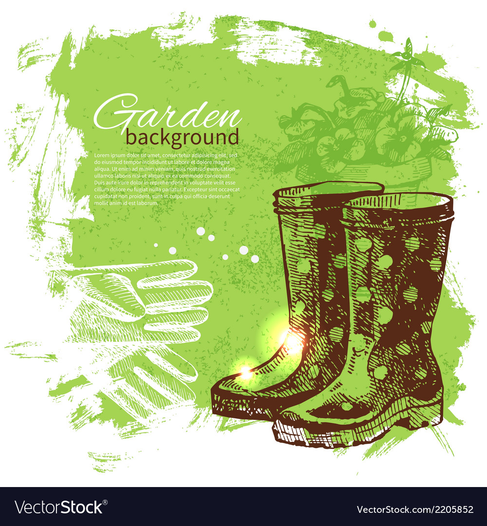 Vintage sketch gardening background vector | Price: 1 Credit (USD $1)