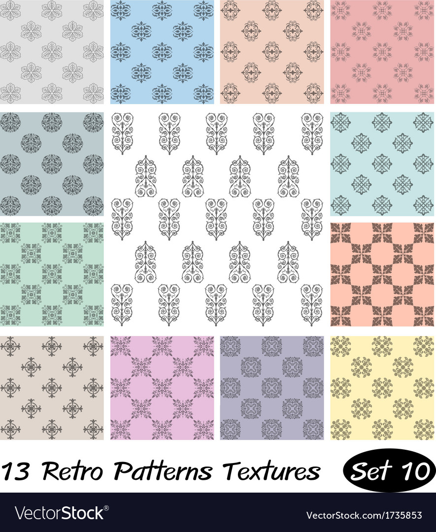 13 retro patterns textures set 10 vector | Price: 1 Credit (USD $1)