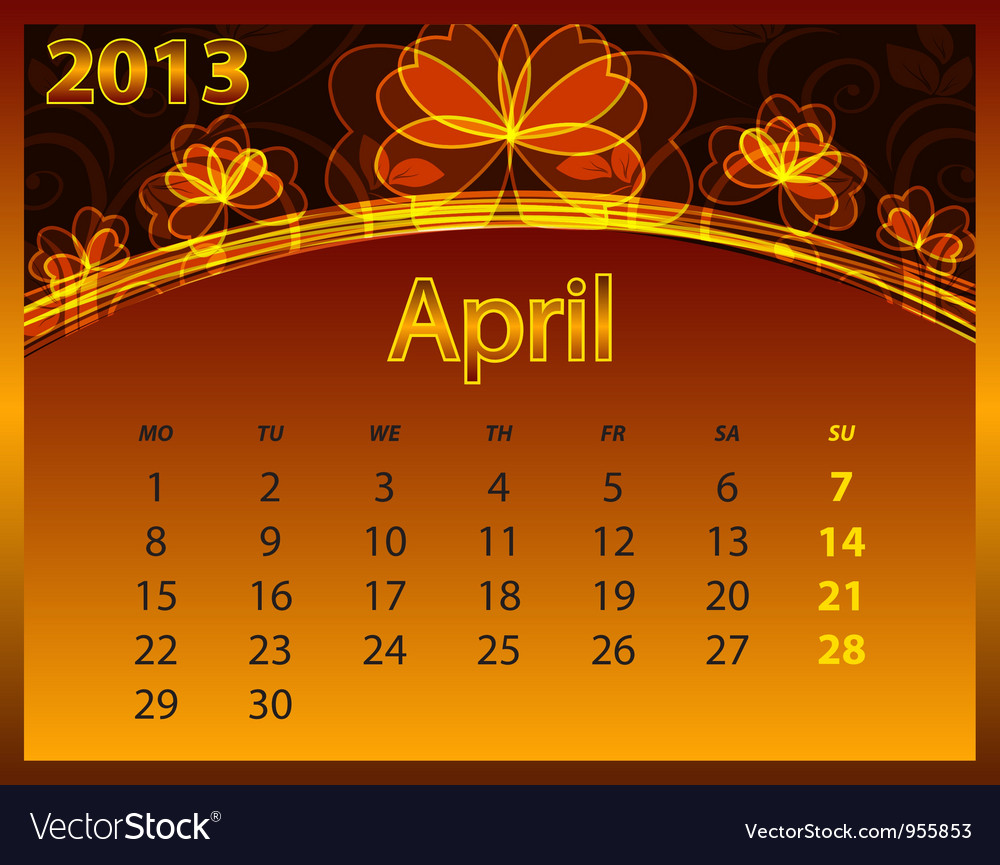 2013 calendar year on the abstract orange vector | Price: 1 Credit (USD $1)