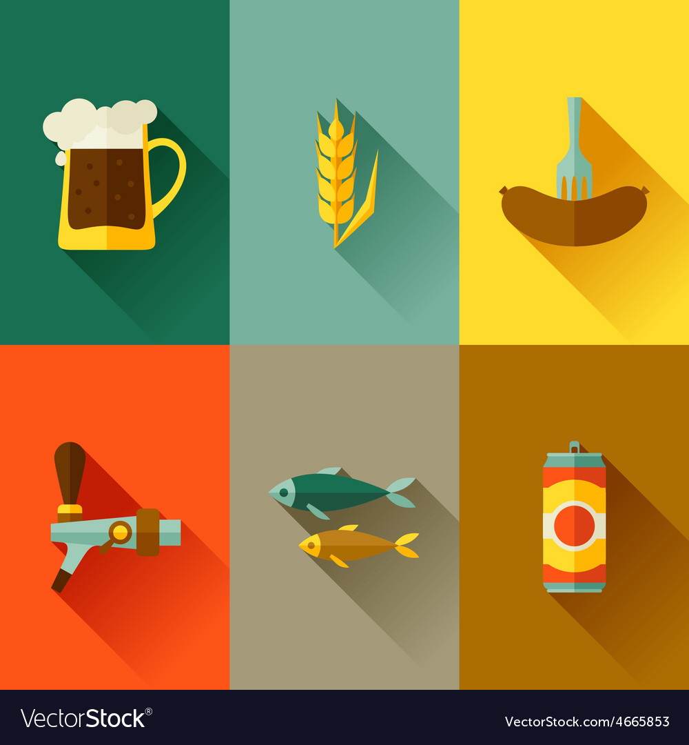 Background with beer icons and objects in flat vector | Price: 1 Credit (USD $1)