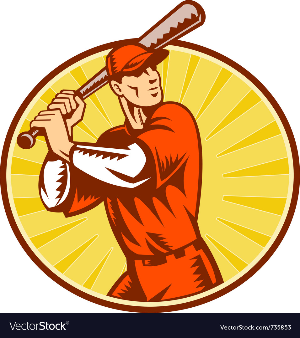 Baseball retro symbol vector | Price: 1 Credit (USD $1)