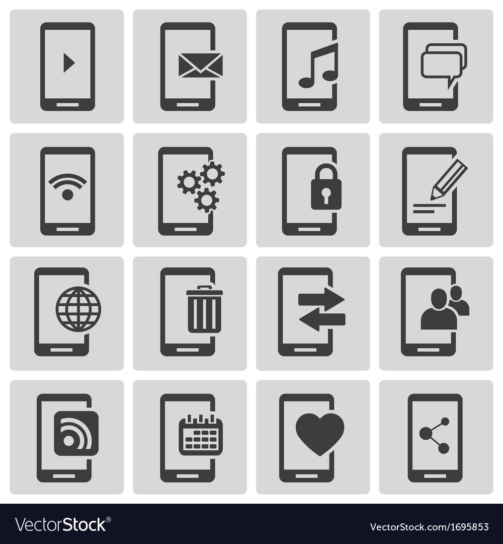 Black mobile icons set vector | Price: 1 Credit (USD $1)