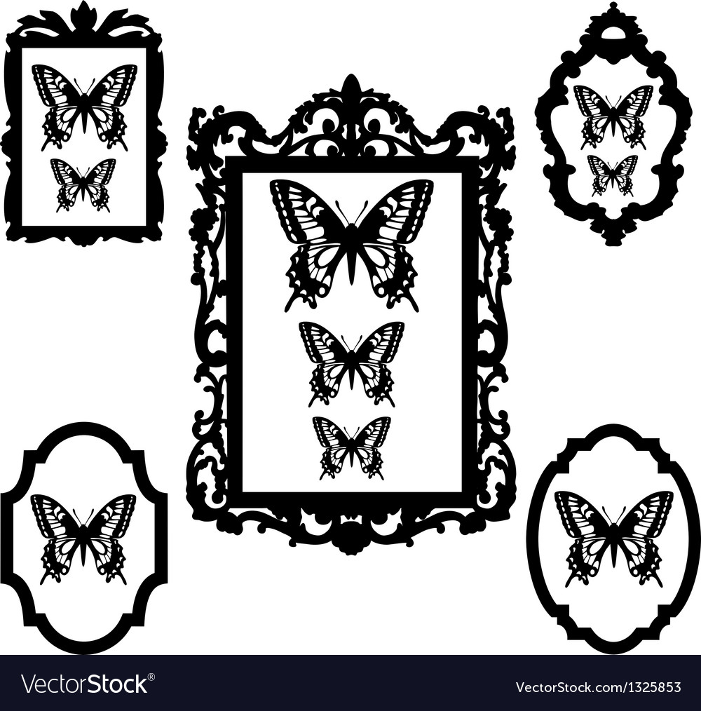Butterflies in vintage picture frames vector | Price: 1 Credit (USD $1)