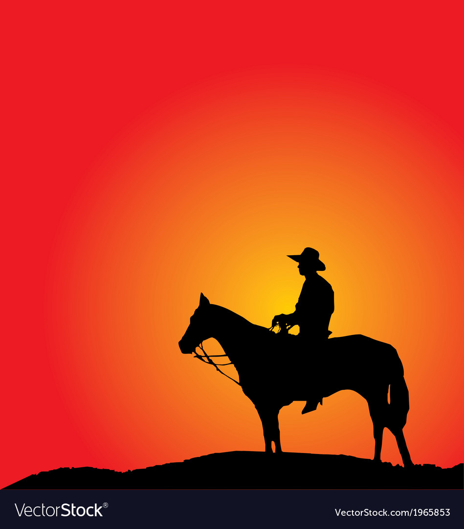Cowboy silhouettes vector | Price: 1 Credit (USD $1)