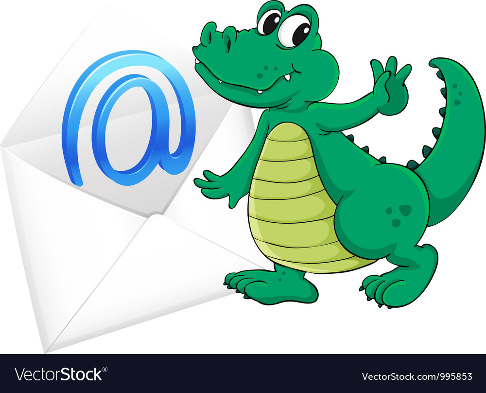 Crocodile with mail envelope vector | Price: 3 Credit (USD $3)