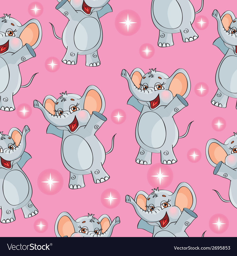 Elephant kids pattern wallpaper background in vector | Price: 1 Credit (USD $1)