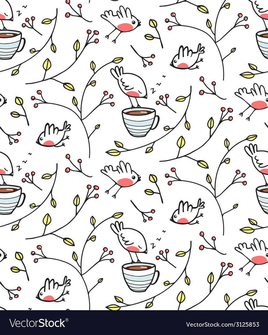 Garden with birds seamless pattern vector | Price: 1 Credit (USD $1)