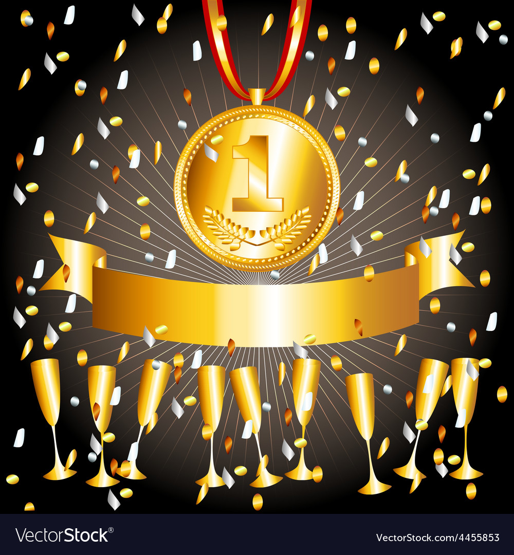 Gold medalcups and ribbon banner vector | Price: 1 Credit (USD $1)
