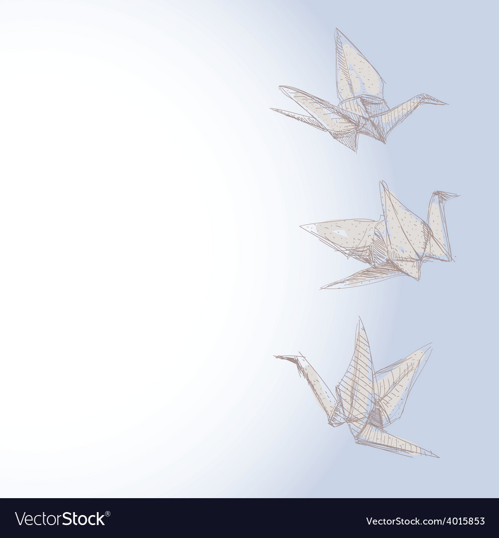 Origami crane sketch - symbol of faith hope and vector | Price: 1 Credit (USD $1)