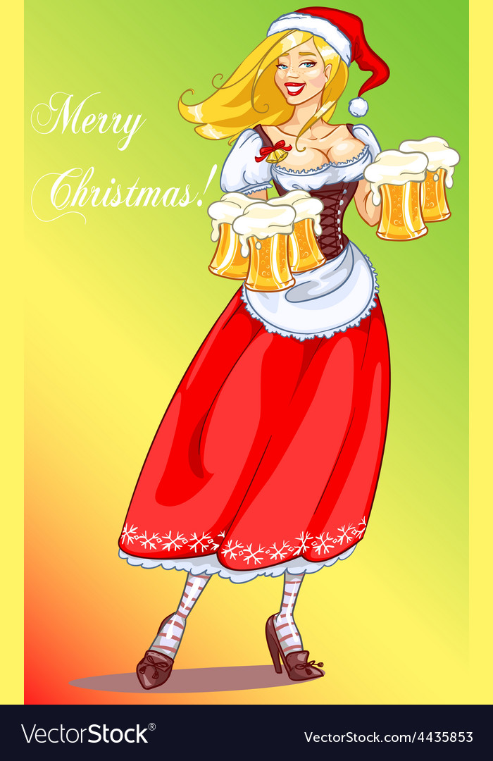 Pretty pin up girl with beer mugs vector   Price: 3 Credit (USD $3)