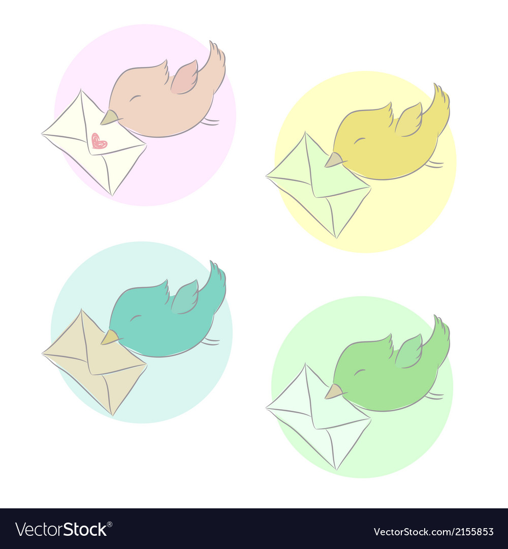 Set of icons birds mail vector | Price: 1 Credit (USD $1)