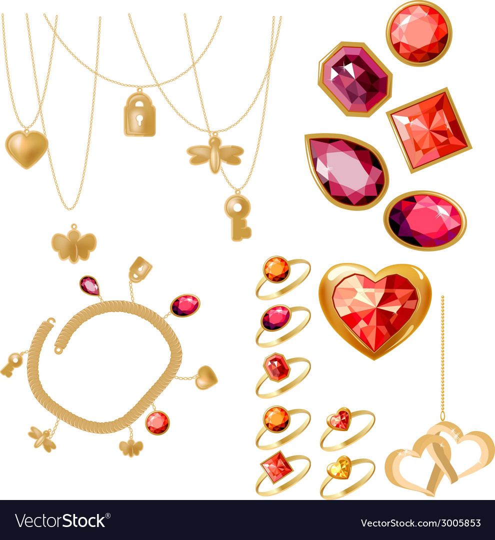 Set with rings gems and bracelet vector | Price: 1 Credit (USD $1)
