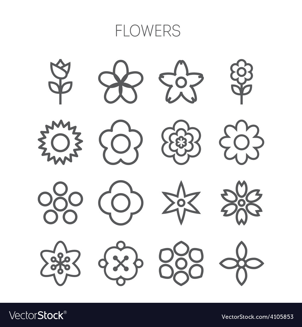 Simple monochromatic flower icon set vector | Price: 1 Credit (USD $1)