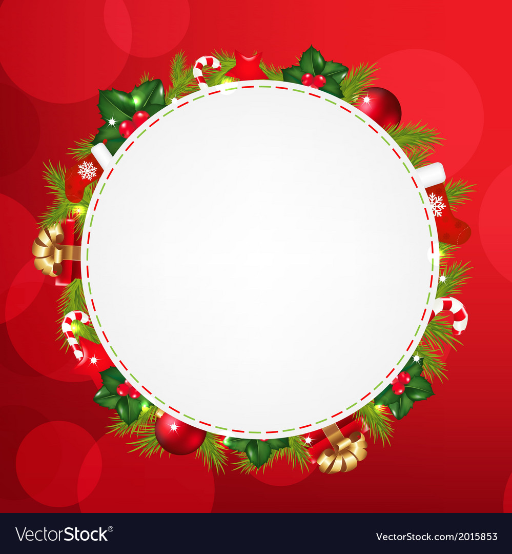 Speech bubble with christmas icons and red bokeh vector | Price: 1 Credit (USD $1)