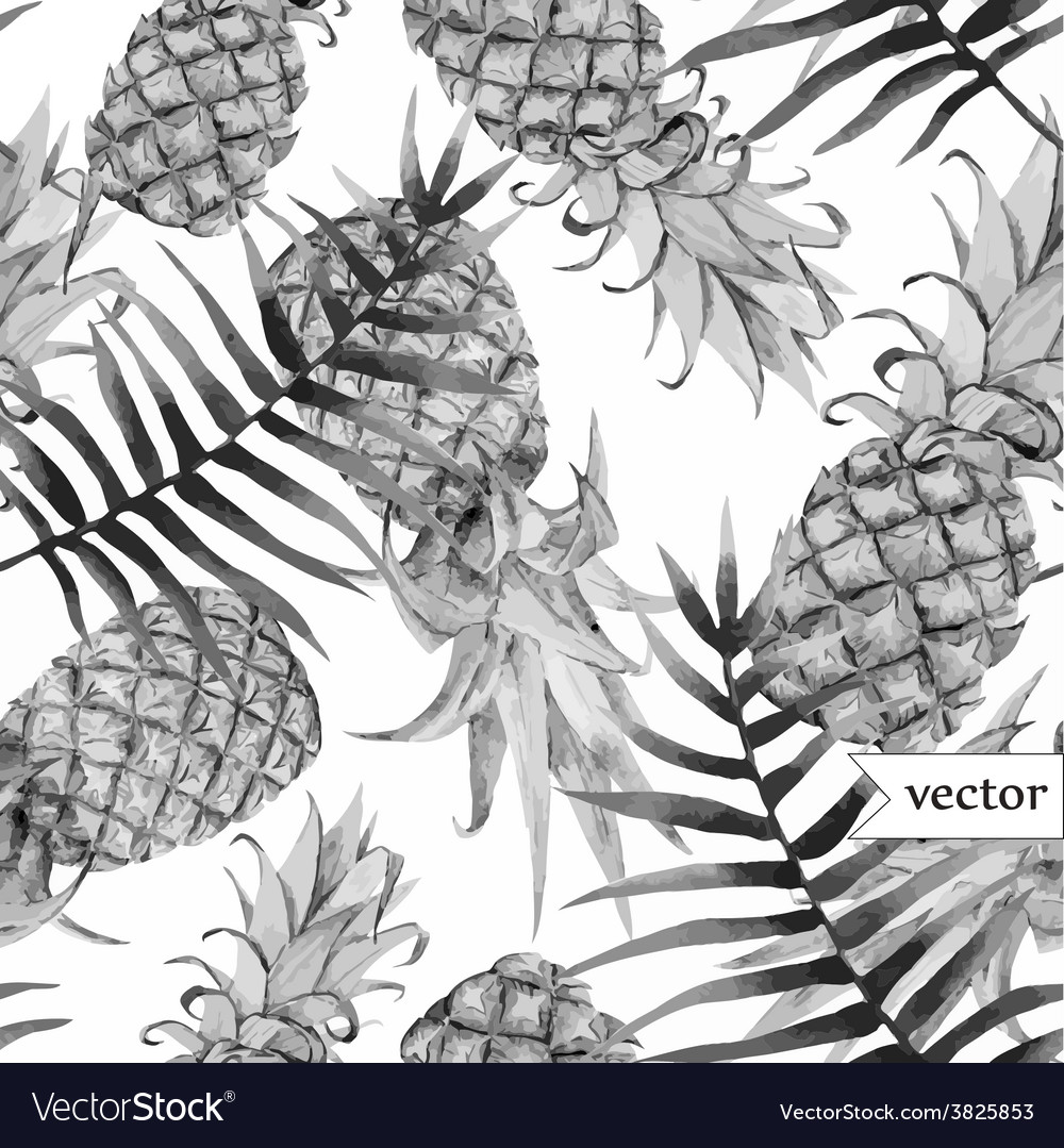 Watercolor tropical pineapple exotic pattern vector | Price: 1 Credit (USD $1)