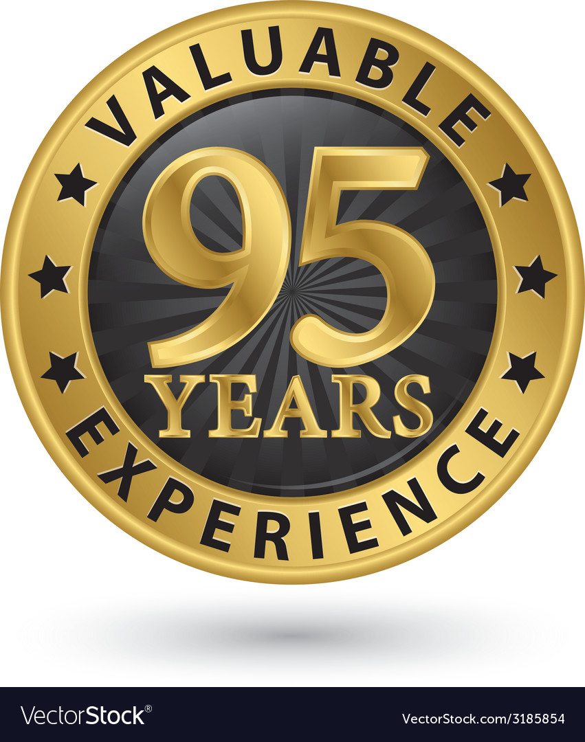 95 years valuable experience gold label vector | Price: 1 Credit (USD $1)