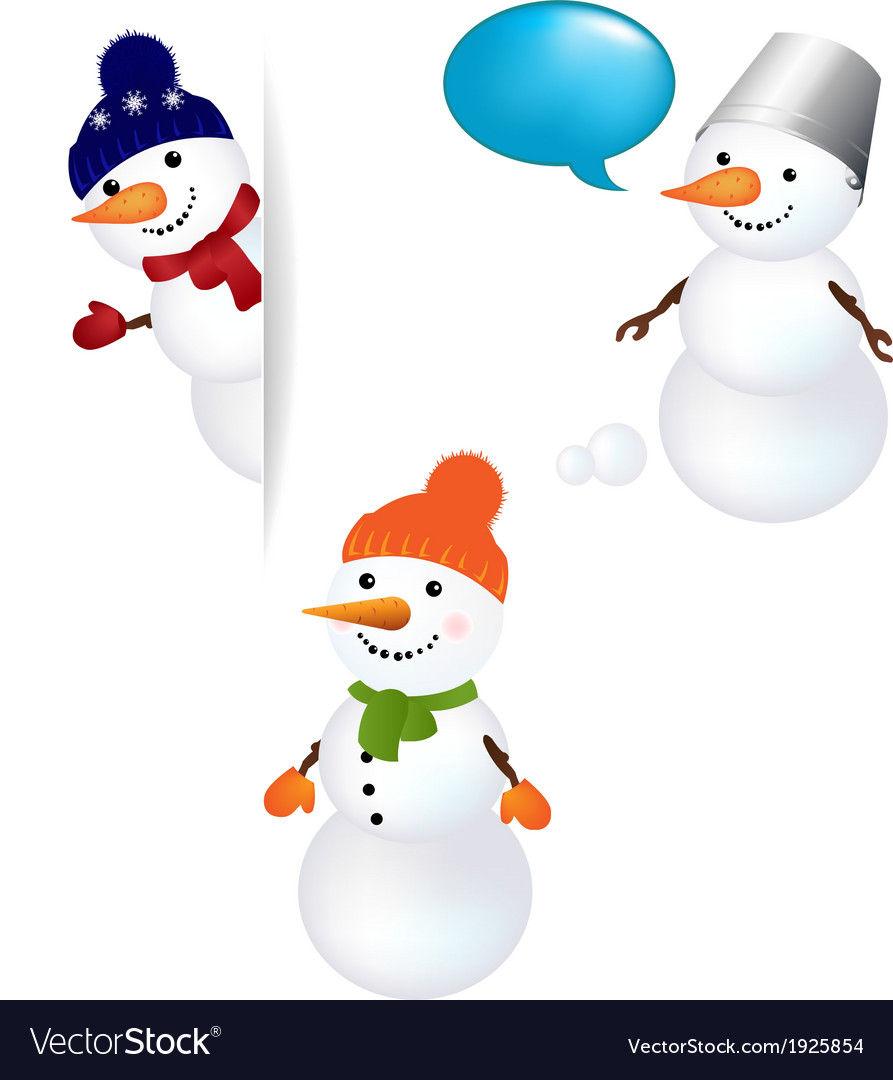 Christmas snowman set vector   Price: 1 Credit (USD $1)