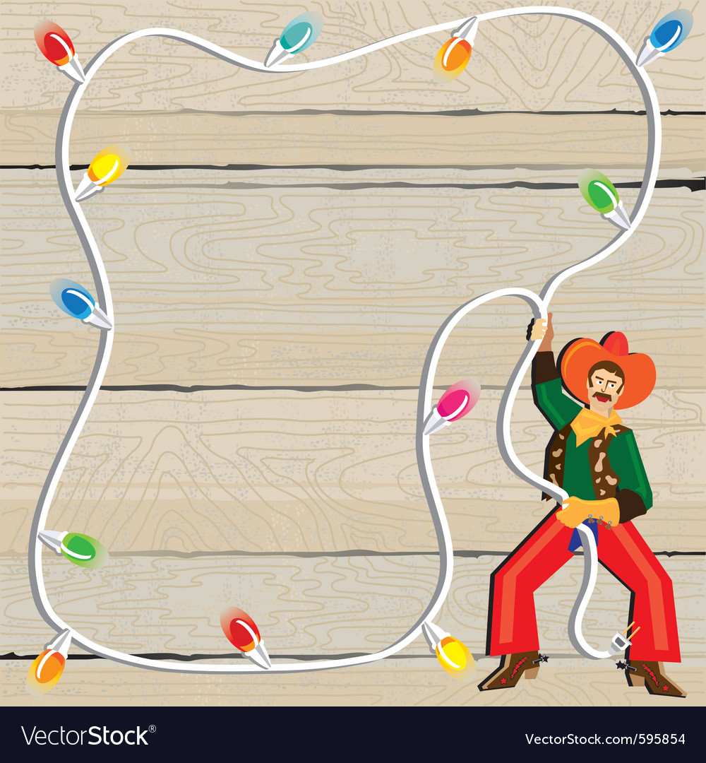 Cowboy christmas lasso invitation vector | Price: 3 Credit (USD $3)