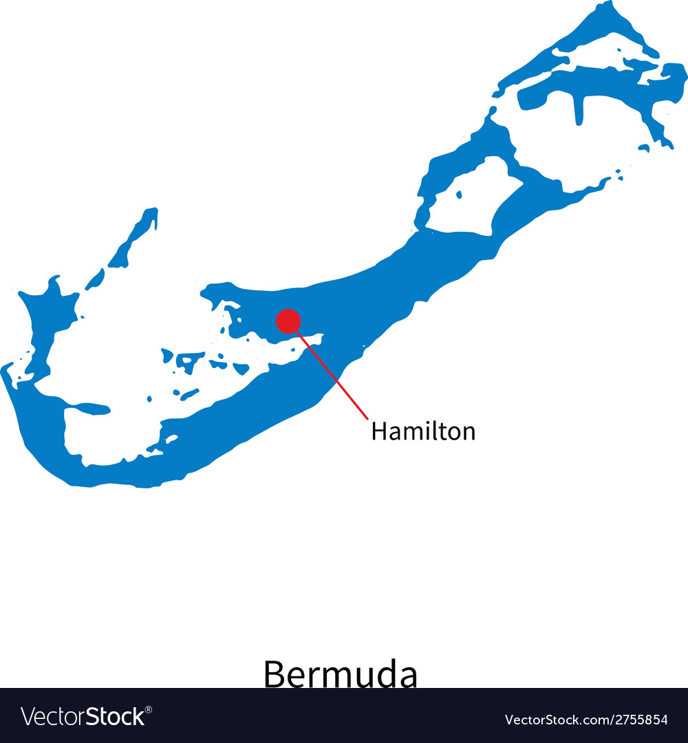 Detailed map of bermuda and capital city hamilton vector | Price: 1 Credit (USD $1)