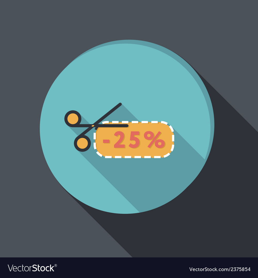Paper flat icon discount coupon with scissors vector | Price: 1 Credit (USD $1)