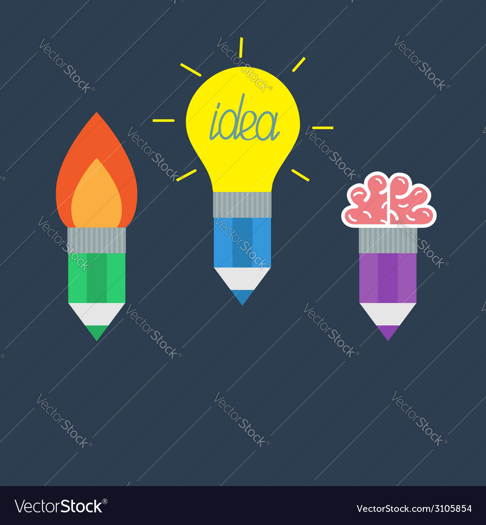 Pencil set with yellow light bulb lamp rocket fire vector | Price: 1 Credit (USD $1)